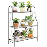 MORITIA 3 Tier Metal Plant Stand Scrollwork Design Indoor and Outdoor Flower Rack, Home Storage Organizer Shelf, 27.9 x 9.6 x 32.6 inch