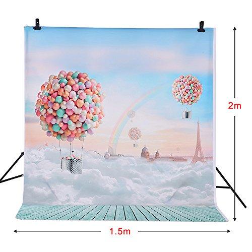 Andoer 1.5 * 2m Fotografia Sfondo Palloncini Arcobaleno Blue Sky Modello per Bambini Bambino Photo Studio Ritratto di Ripresa