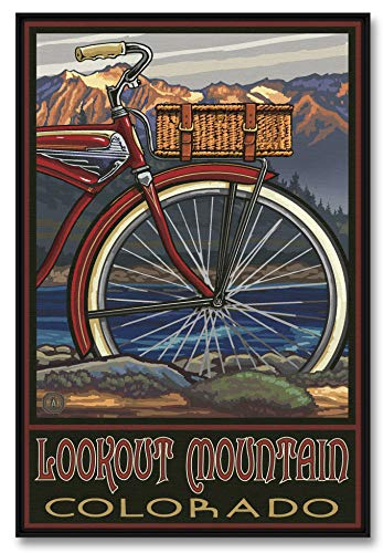 Lookout Mountain Colorado Fat Tire Bike Professionally Framed Giclee Archival Canvas Wall Art for Home & Office from Original Travel Artwork by Artist Paul A. Lanquist 24' x 36'