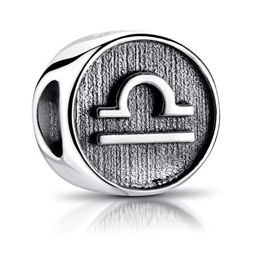 MATERIA Sternzeichen Waage Anhänger Silber 925 - Beads Perle Charms für Armband oder Kette antik schwarz #589