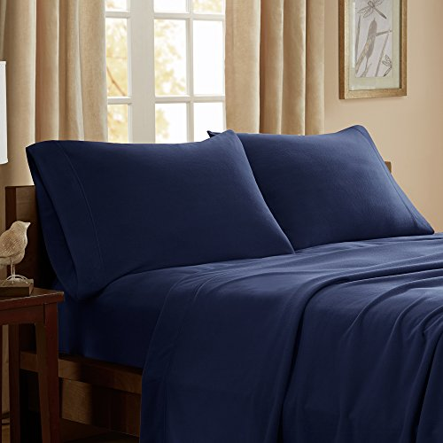 Peak Performance 3M Scotchgard Micro Fleece Wrinkle and Stain Resistant, Soft Plush Sheets with 14' Deep Pocket Cold Season Cozy Bedding-Set, Matching Pillow Case, Queen, Navy