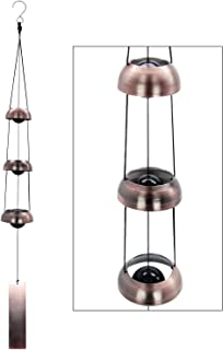 ASTARIN Temple Wind Chime, Red Copper Wind Chimes with 3 Bells, Feng Shui Wind Chimes for Home Yard Outdoor Decoration, A ...