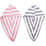 Paquete de 2 toallas de microfibra para el pelo secas, turbante para mujer, súper absorbente de secado rápido, ducha de...
