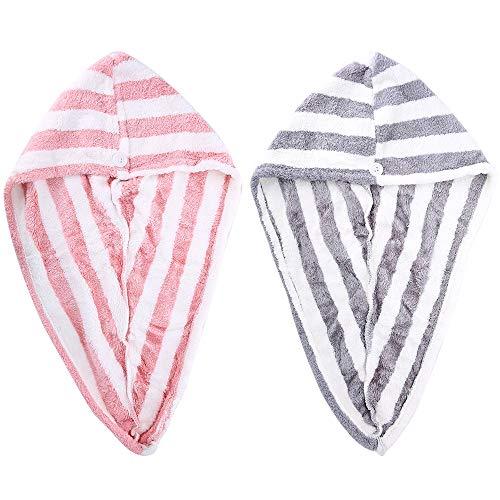Paquete de 2 toallas de microfibra para el pelo secas, turbante para mujer, súper absorbente de secado rápido, ducha de baño con botones, sombrero de pelo seco, gorro de baño, secado rápido