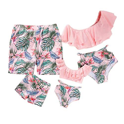 Yaffi Family Passender Bikini für Badeanzüge Zweiteiler Off Shoulder Badeanzug mit Rüschen Beach Wear Pink Damen: L
