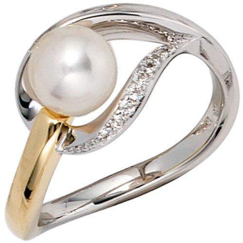 Anillo mujer perla 9 diamantes brillantes 585 dulce oro bicolour