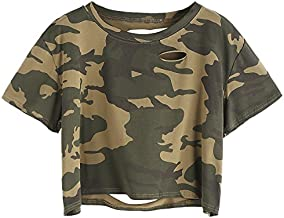 SweatyRocks Women's Summer Short Sleeve Tee Distressed Ripped Crop T-shirt Tops (Medium, Camo)