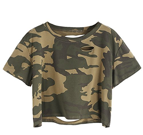 SweatyRocks Women's Summer Short Sleeve T Shirts Distressed Ripped Crop Tops Camo S
