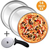 Pizza Pan and Pizza Cutter Set, Includes - Three 14 Inch Pizza trays + Pizza Cutter Wheel - Durable...