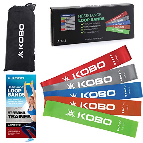 "Kobo AC-82 Latex Resistance Loop Band 2"" Wide Set of 5 for Squats, Hips & Glutes, Yoga, Crossfit, Strength Training, Physical Therapy for Men & Women - Includes Travel Bag & Workout Guide Booklet"
