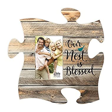 Our Nest Is Blessed Bird Design Distressed Wood Look 4 x 6 Wood Puzzle Wall Plaque Photo Frame