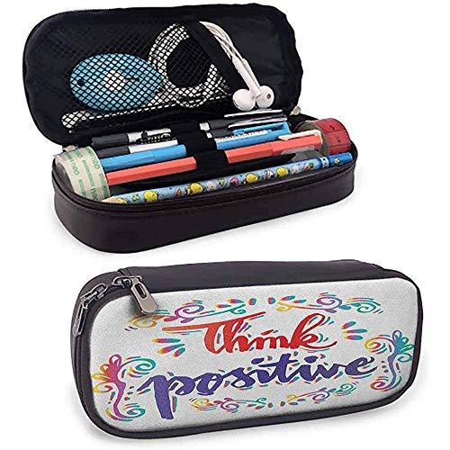 Inspirierende Leder Federmäppchen denken positive stilisierte kalligraphische Kunst Floral wirbelt optimistische Leben Zitat Reißverschlusstasche für Stifte