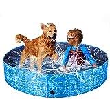 XIAPIA Piscina Perros Grande,Plegable Bañera para Perros Piscina Perros Rigida Piscina Hinchable Perro Desmontables Portatil Regalo para Mascotas (160 * 30cm)