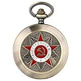 ZHAOXIANGXIANG Reloj De Bolsillo,Insignias Retro Martillo De Hoz Estilo Reloj De Bolsillo De Cuarzo Emblema De Rusia Comunismo Collar Unisex Reloj De Cadena, Color Retro