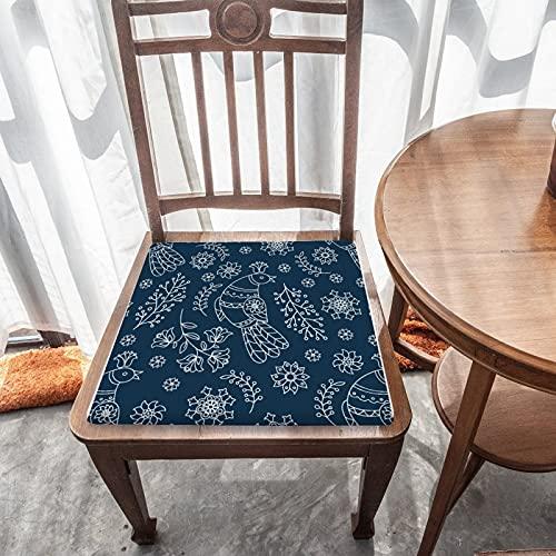 Cojín de asiento extraíble para decoración del hogar duradero para exteriores, jardín, patio, cocina, oficina, cojín cuadrado lavable, cómoda funda de silla, patrón de pájaros nórdicos en azul