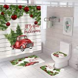4 Pcs Christmas Shower Curtain Sets with Rugs Red Truck with Xmas Tree Red Ball Farmhouse Shower Curtain Waterproof Bathroom Set with Hooks Toilet Lid Cover Bath Mat