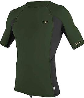 O'Neill Mens Premium Skins Short Sleeve Rash Vest Top - Dark Olive - Quick Dry UV Sun Protection and SPF Properties