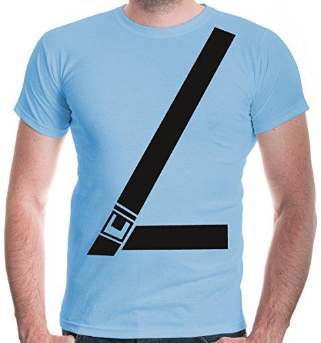 buXsbaum Herren T-Shirt Anschnallgurt   Sicherheitsgurt Seatbelt Gurt Sicherheit Auto   L, Blau
