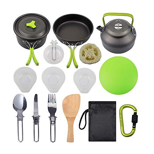 FNCUR Camping Cookware 2-3 Person Camping Kitchen with Cauldron, Frying Pan, Teapot, Small Bowl, Soup Spoon, Wooden Spatula, Fork, Spoon, Knife, Lock, Cutting Board (Color : Green)