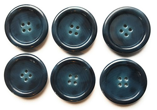 6 HORN Tailored Premium 1-1/4' COAT BUTTON SET Multi Color Dark Smoked Blue / Navy for Coatsand Dresses #807