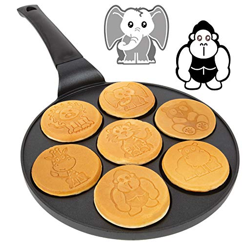 Animal Mini Pancake Pan  Make 7 Unique Flapjack Zoo Animals Nonstick Pan Cake Maker Griddle for Breakfast Fun amp Easy Cleanup