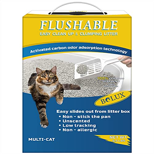 Bolux Flushable Cat Litter, Low Tracking Clumping Tofu Cat Litter,Odor...