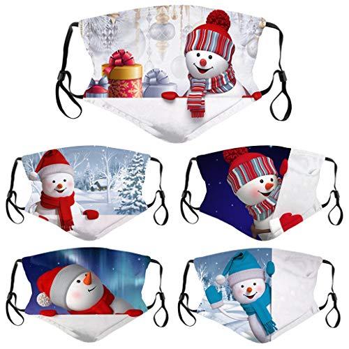 5PC Kindermode Cartoon Weihnachten niedlich Schneemann drucken multifunktionale Stoff atmungsaktiv Winddicht Sand waschbar verstellbar Baumwolle Handtuch Schal