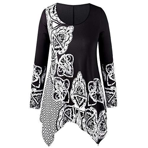 Toamen Camicetta Donna Moda Taglie Forti O-Collo Top T-Shirt Girocollo Manica Lunga Stile Etnico Stampa Stitching Capispalla Irregolare(Nero,XXXXX-Large)