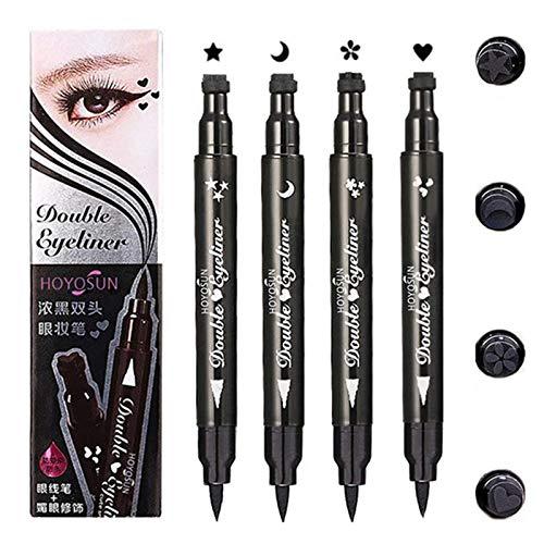 BONNIESTORE 4 IN 1 Dual-ended Eyeliner Stamp, Waterproof Long Lasting Star Heart Flower Moon Shape Stamps Tattoo Eyeliner Makeup Tools, 4 Pcs/Set