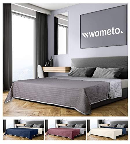 wometo Tagesdecke 220x240 cm OekoTex - Microfaser-Bezug grau hellgrau wattiert gesteppt Wende-Design XXL Sofa Couch Bett Bettüberwurf