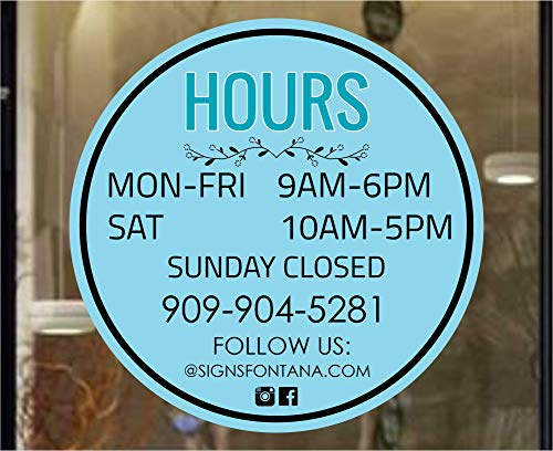 Store Business Hours, Customized Store Hours, Full Color Customized Hours, Vinyl Office Hours Door Sign, Professional Business Hours Sign Sticker Kit, 12x12 Inches Hours Sign for Business