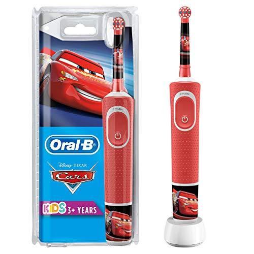 Oral-B Kids Cars Elektrische Zahnbürste mit Disney-Stickern, für Kinder ab 3 Jahren, rot