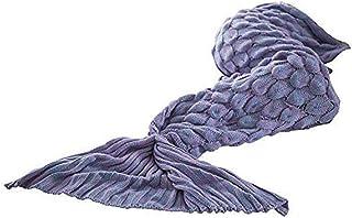 JTD Mermaid Tail Blanket, Knitted Mermaid Sofa Blanket Quilt Living Room Handmade Crochet Mermaid Fishtail Blankets Sleepi...