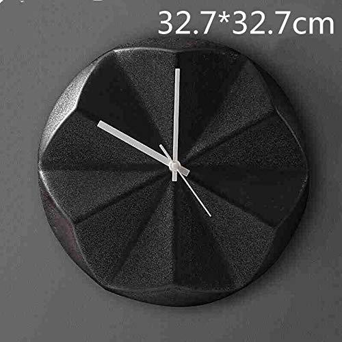 WANGZHEN Nordic Keramik geometrische Wanduhr, Wandbild Schlafzimmer kreative Wohnzimmer Wanddekoration Wanduhr-Geometric Origami Wanduhr schwarz