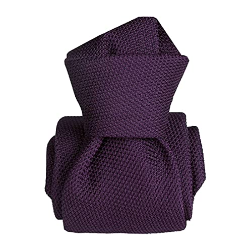 Segni et Disegni. Cravate grenadine. MARAVELLA, Soie. Violet, Uni. Fabriqué en Italie.