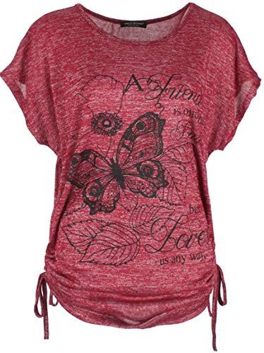 Emma & Giovanni - T-Shirt/Oberteile Kurzarm Schmetterlinge - Damen (# Bordeaux, L-XL)