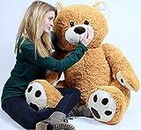 Big Plush Giant Teddy Bear Almost Five Feet Tall Honey Brown Color Soft Smiling Big Teddybear 55 Inches Premium Plush Bear