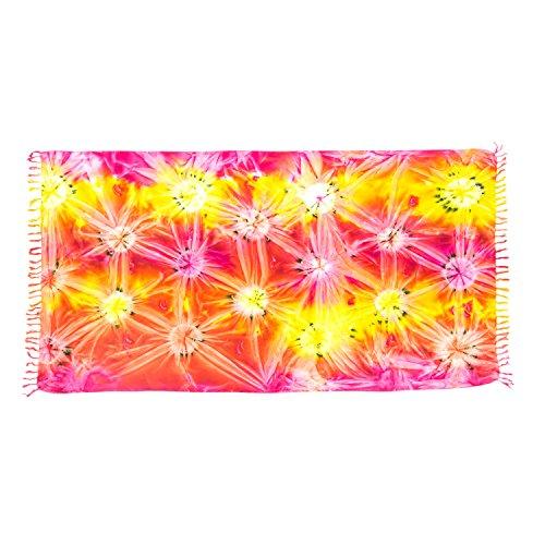 ManuMar Damen Sarong | Pareo Strandtuch | Leichtes Wickeltuch mit Fransen-Quasten (L: 115 x 225 cm, Pink Rot Gelb Orange)