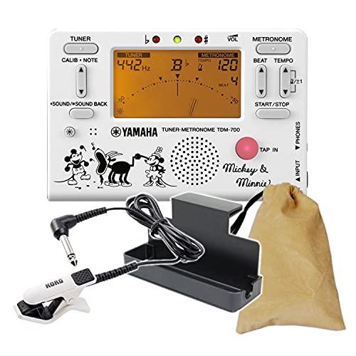 YAMAHA チューナーメトロノーム ミッキー&ミニー TDM-700DMN5 クリップマイク&譜面台トレイ&ケース付き(ヤマハ TDM700DMN5) (クリップマイク:ブラック/ホワイト)