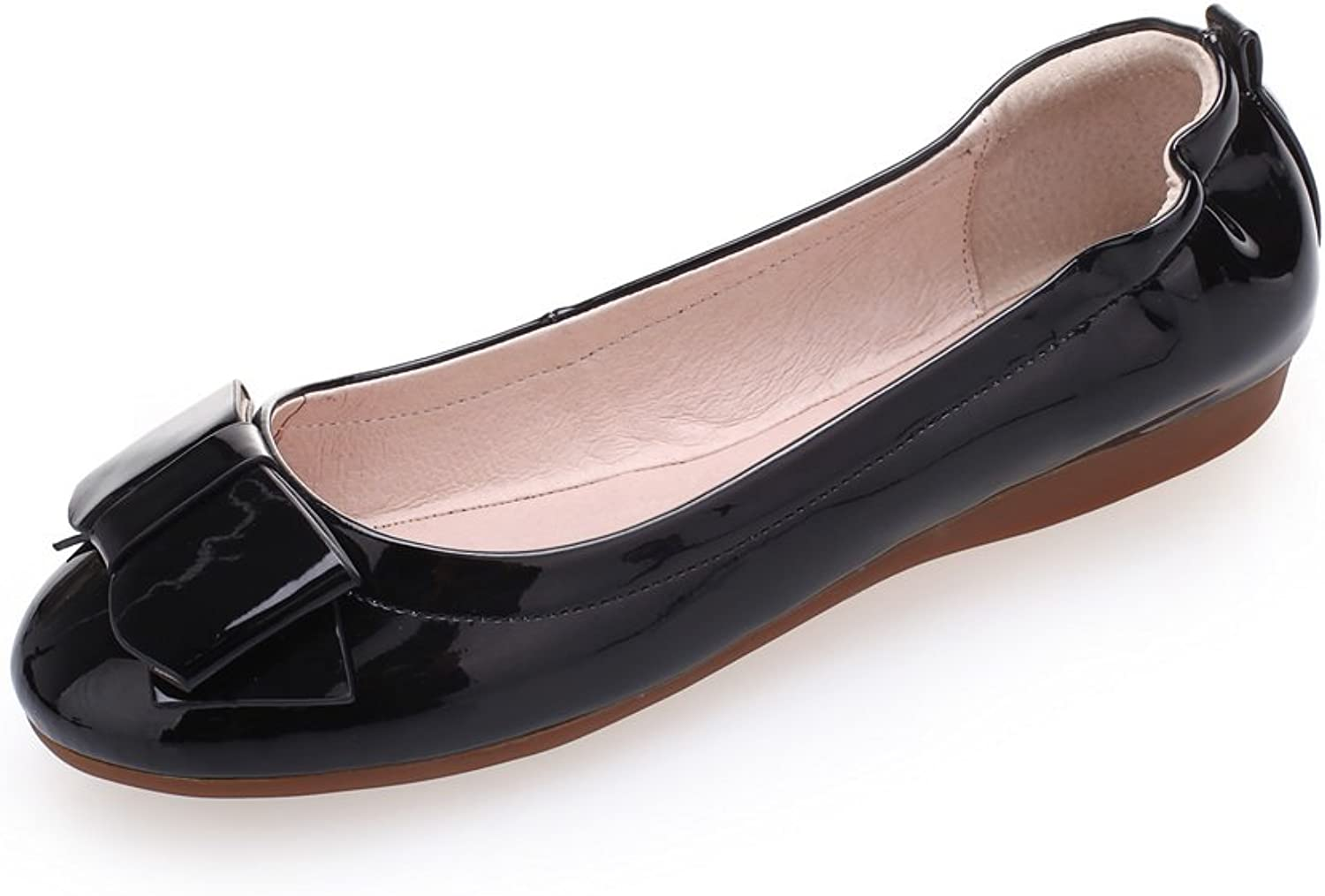 1TO9 Womens Bowknot Round Toe Outdoor Black Patent Leather Pumps-shoes - 5 B(M) US