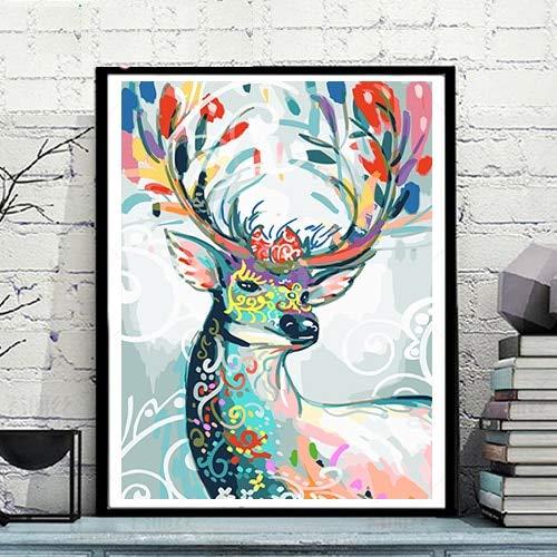 Wfmhra Colorido Ciervo Animal Mural Abstracto para la decoración de la habitación de los niños Lienzo Cartel de la Lona Pintura al óleo impresión del Arte decoración del hogar 70x90cm sin Marco