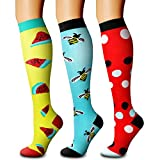 CHARMKING Compression Socks (3 Pairs) 15-20 mmHg is Best Athletic for Women & Men, Running, Flight Travel, Crossfit, Cycling, Pregnant - Boost Performance, Flexibility, Durability (S/M, Multi 14)