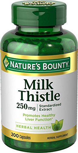 Nature's Bounty Milk Thistle Pills and Herbal Health Supplement, Supports Liver Health, 250mg, 200...