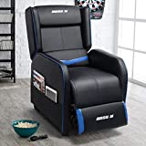 Lemberi Gaming Recliner Chair for Adults PU Leather Home Theater Seating Video Game Chairs for Living Room Ergonomic Racing Style Single Movie Gamer Lounge Sofa Blue