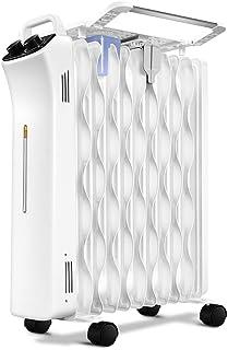 Radiador Lleno de Aceite de 2000 W, 11 Aletas - Calentador eléctrico portátil - 3 configuraciones de Calor, termostato y Corte de Seguridad, Adecuado para Sala de Estar, Dormitorio