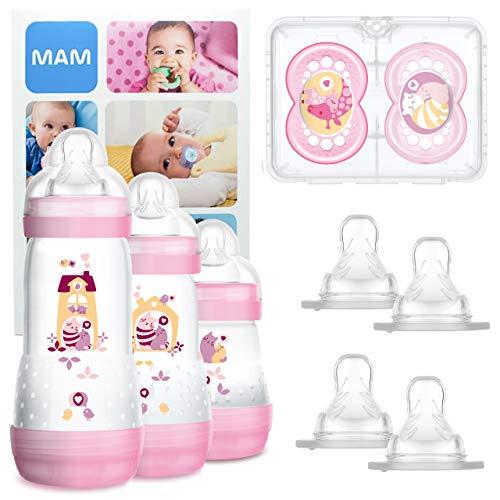 MAM Grow With Me Bottle Set, Set regalo neonato 3x biberon Anti-Colic (160/260/320ml) 2x Original ciucci 6+, Set biberon con 2x tettarelle mis. 3 e X cad, per 2+ mesi, Bimba