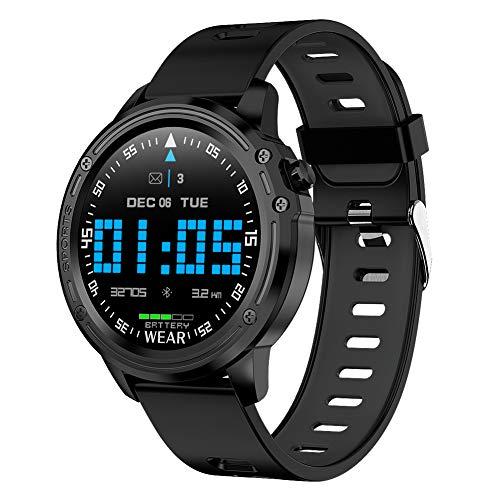 Padgene Smartwatch Reloj Inteligente IP68 Impermeable Bluetooth con Múltiples Deportes, Podómetro con Pulsómetro, Monitor de Sueño, Notificación de Llamada y Mensaje para Android e iOS (Negro)