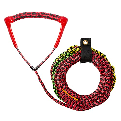Obcursco 75ft Ski Rope, 3-Section Watersports Ropes with EVA Radius Handle for Wakeboard, Water Ski and Kneeboard