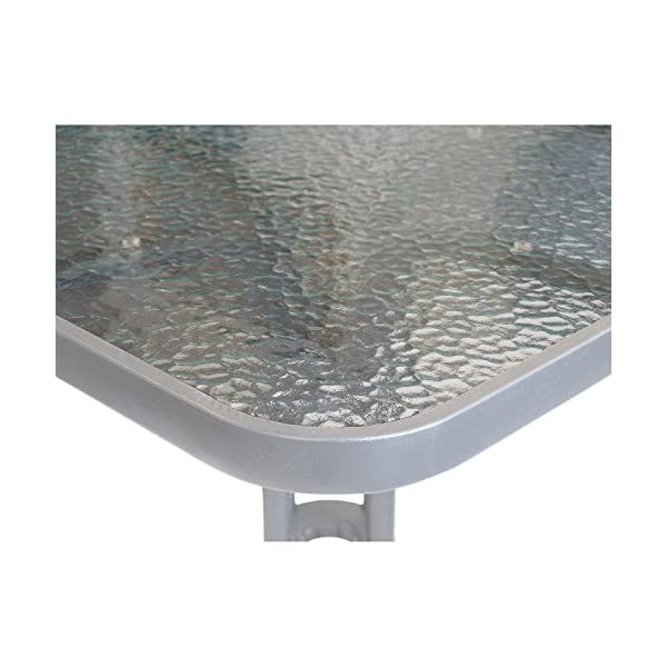 Wohaga 5er Bistro- und Balkonmöbel-Set Glastisch 60x60cm Silber + 4X Aluminium Bistrostühle mit Poly-Rattanbespannung…