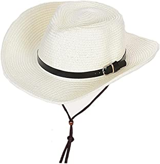 LONGren Children's Sun Hat Outdoor Summer Men Fishing Straw Sun Protection Beach Hat with Chin Band (Color : White, Size :...